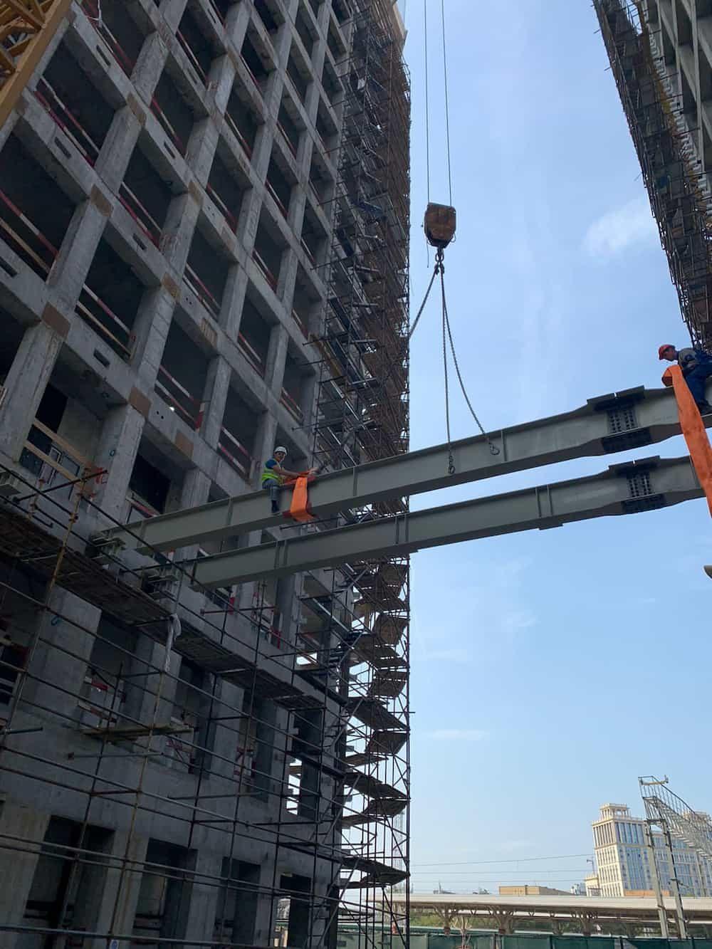 Начаты работы по монтажу металлоконструкций для Бизнес-Центра AFI SQUARE на Грузинском Валу,г.Москва.